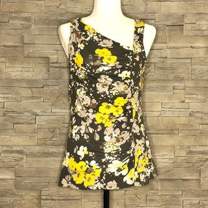 Merona taupe and mustard yellow floral top